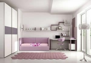 Cameretta KC 101, Children bedroom with a large desk with pull-out shelf