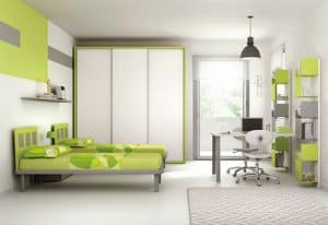 Cameretta KC 104, Bedroom with simple lines, with lacquered metal elements