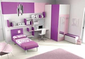 Cameretta KC 112, Modern children bedroom, with modular walk-in closet