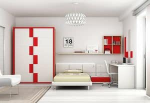 Cameretta KC 123, Original bedroom for boys, with wood paneling