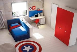 Bedroom for children KC 213, Children bedroom with sofa bed and desk