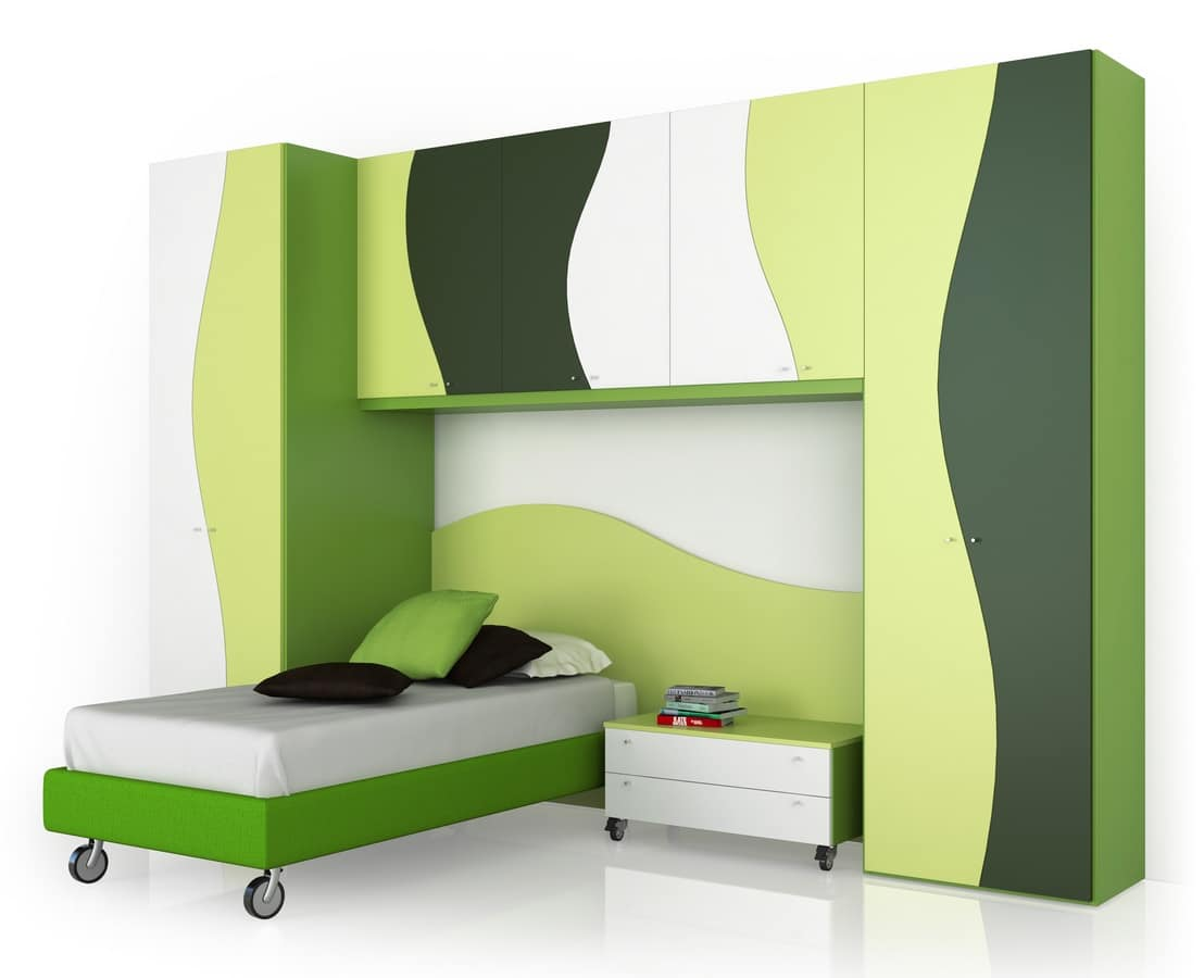 Child bedroom comp.2, Children's room with wardrobes and bedside table, various colors