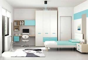 Children bedroom KC 103, Children bedroom in minimalist style, with nickel finishing