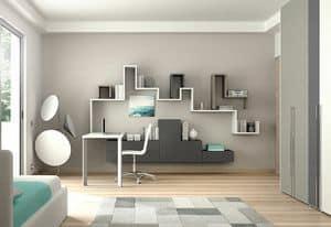 Children bedroom KC 106, Functional children bedroom with wall cabinets, customizable