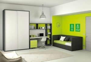 Children bedroom KC 110, Children bedroom with wardrobe with sliding doors