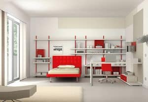 Children bedroom KC 111, Modern bedroom with customizable bookcase