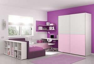 Children bedroom KC 116, Children bedroom in minimalist style, with corner shelves
