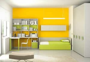 Children Bedroom KC 124, Modular children bedroom with shelves, desk and wardrobe
