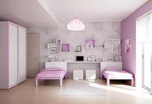 Children bedroom KC 201, Colored cildren bedroom, customizable, with shelves