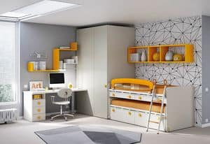 Children bedroom KC 203, Modular and functional bedroom for children, with cable guide