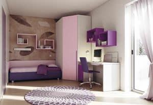 Children bedroom KC 208, Bedroom for children, with optimized spaces
