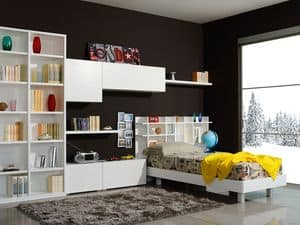 Climb Youngs 06, Modular Room for children, with a bed and wall cabinets