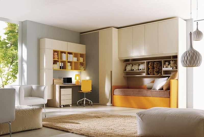 Comp. 206, Children's bedroom, bed, wardrobe, desk