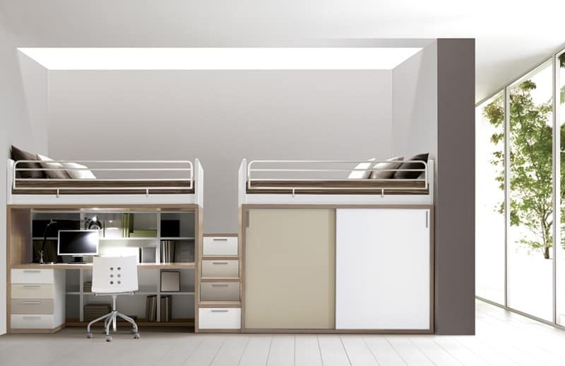 Comp. 309, Bedroom furniture, bed, desk, cupboards, shelves