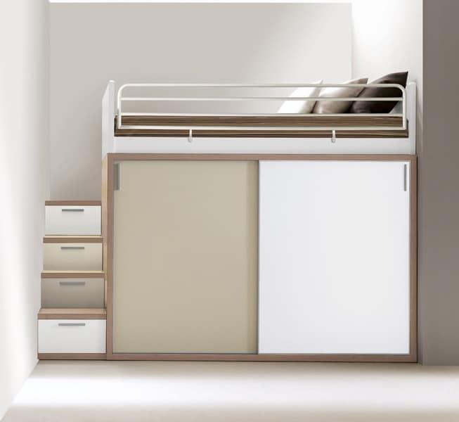 Bedroom furniture, bed, desk, cupboards, shelves  IDFdesign