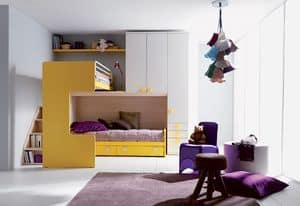 Comp. 407, Bed and nightstand for children, customizable sizes and finishes