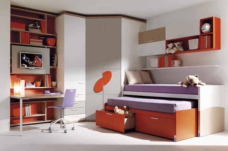 Comp. 955, Junior bed, wardrobe, desk, wall units
