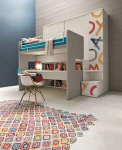 Comp. New 154, Wardrobe with integrated bunk bed, with desk, decorated in digital printing