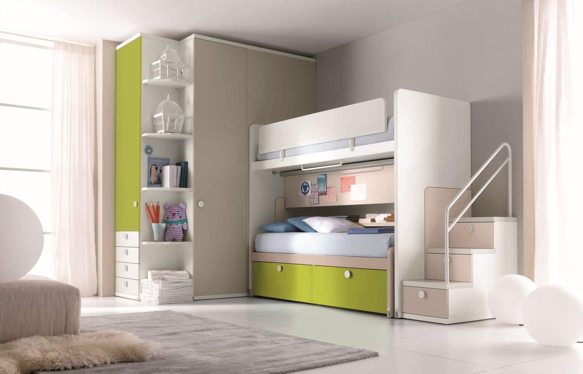 Comp. New 159, Bedroom with bunk bed, stair with drawers, wardrobe