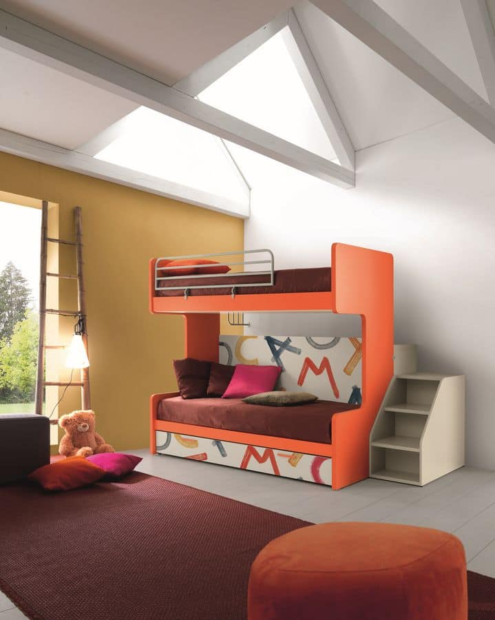 Comp. New 161, Bunk bed with three beds, folding mechanism, ideal for small bedrooms