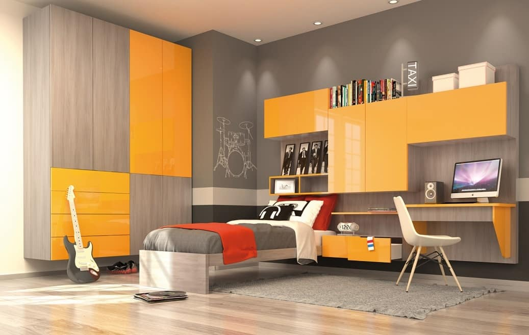 Modern Kid Bedroom With Wall Wardrobe Yellow And Elm Finish Idfdesign
