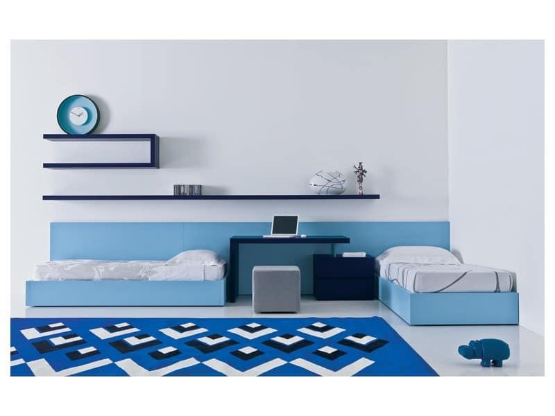 Kid bedroom Mia - Transformable and bridge 02, light blue teen bedroom, teen bedroom with two beds Bedroom