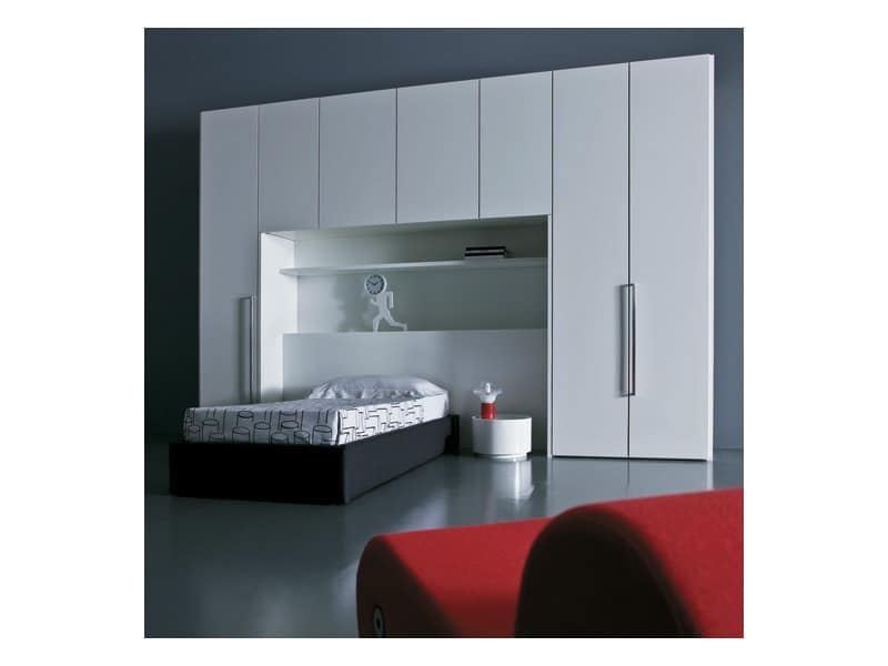 Kid bedroom Mia - Transformable and bridge 03, bridge wardrobe, teen bedroom, stuffed sommier Bedroom
