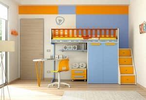 Loft bed KS 102, Child's bedroom with loft bed and shaped desk