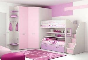 Loft bed KS 103, Modular children bedroom with loft bed and walk-in closet