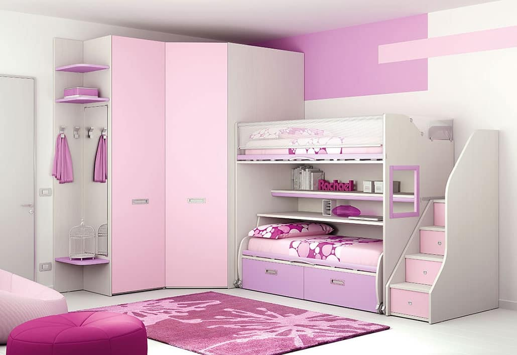 Loft Bed KS 103, Modular Children Bedroom With Loft Bed And Walk In Closet