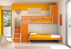 Loft bed KS 105, Loft bed with ladder with drawers, space-saving