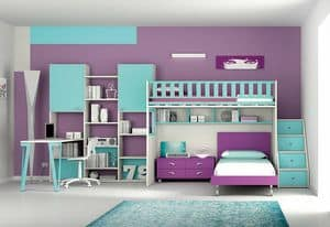 Loft bed KS 107, Bedroom with loft bed, night table and bookcase