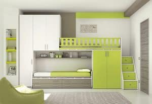 Loft bed KS 108, Bedroom with loft bed, with mark of Controlled Safety