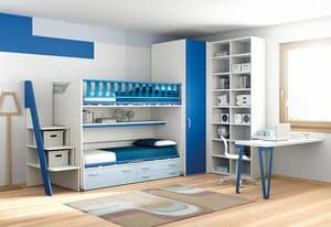 Loft bed KS 109, Loft bed for children bedrooms, practical and functional