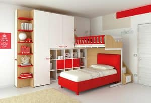 Loft bed KS 112, Bedroom with loft bed, with open bookcase and 6 drawers