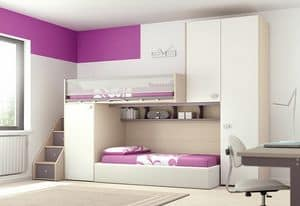 Loft bed KS 113, Bedroom with loft bed, ideal for optimizing space