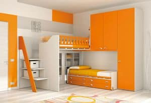 Loft bed KS 114, Loft bed with library closed by methacrylate doors