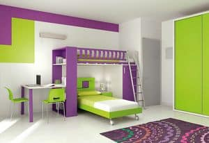 Loft bed KS 115, Loft bed with ladder equipped with safety system