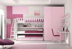 Loft bed KS 116, Children bedroom with loft bed with 3 beds, and shelves