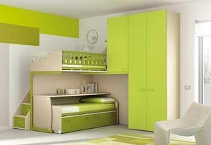 Loft bed KS 117, Loft bed with desk and 3-door wardrobe