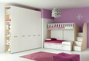 Loft bed KS 118, Bedroom with loft bed and wardrobe with built-in handles