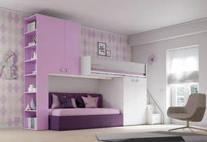 Loft bed KS 203, Modular loft bed, multi-functional and secure
