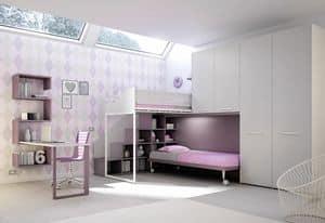 Loft bed KS 207, Modern children bedroom with loft bed and desk