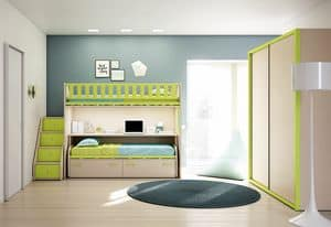 Loft bed KS 208, Modern children bedroom with ladder with drawers