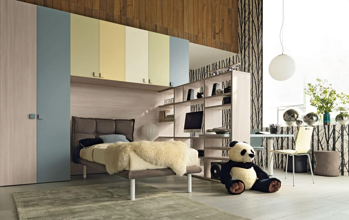 Comp. New 141, Space saving kid bedroom, with built-in bridge wardrobe, upholstered bed and desk bookcase