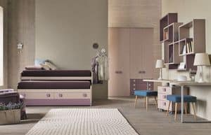 Comp. New 153, Bedroom for girls with sliding beds with drawers