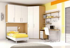 Ponte KP 107, Modern children bedroom with modular walk-in closet