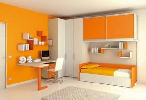 Ponte KP 112, Children bedroom with deck and wardrobes with sliding doors