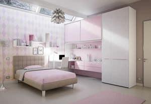 Bridge KP 203, Modern children bedroom with deck and shaped desk