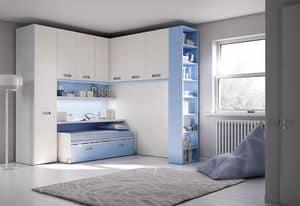 Bridge KP 204, Modern children bedroom with deck and wardrobe
